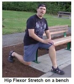 hip flexor stretch on a bench