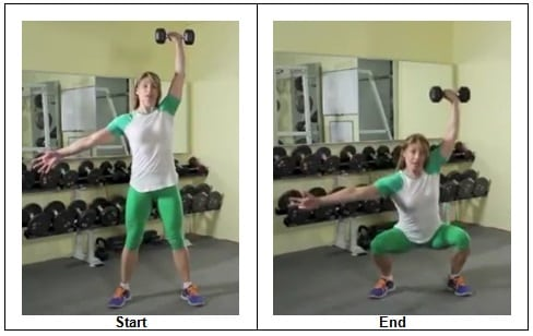 1 Squat with Single Dumbbell Over Head