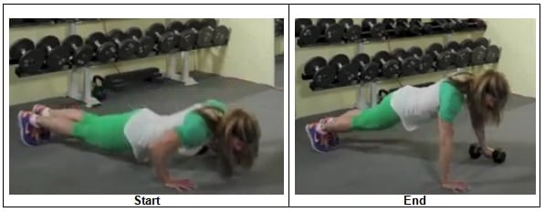 Push Up One Hand on Dumbbell