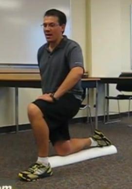 Kneeling on a Foam Roller