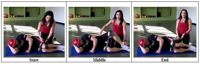 Knee and Hip Stretch with a Band (Left Side)