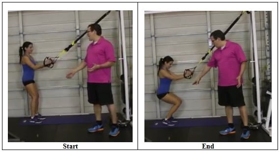 Suspension Training Squat Exercise (wrong position)