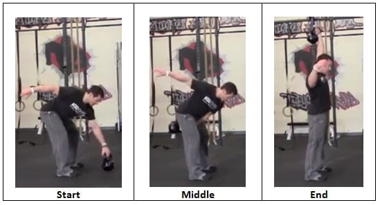 Single Arm Snatch with Kettlebell side view Controlled Chaos Workout