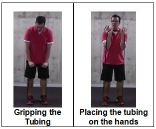 Gripping the Tubing and Placing the tubing on the hands Exercises to Strengthen Your Knees If You Can't Get On the Floor