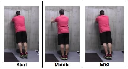 Wall Plank from Forearms to Straight Arms (back view)