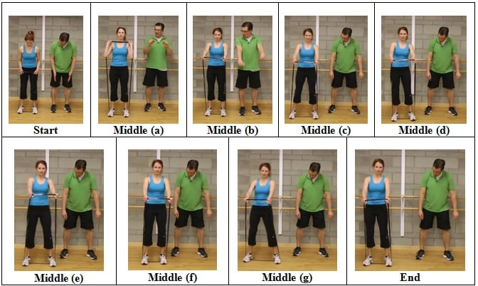 Side Shuffle with Straight Arms front view 5 AWESOME Resistive Band Exercises You Can Do ANYWHERE
