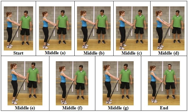 Side Shuffle with Straight Arms side view 5 AWESOME Resistive Band Exercises You Can Do ANYWHERE