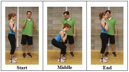 Squat into a Press front rack position 5 AWESOME Resistive Band Exercises You Can Do ANYWHERE