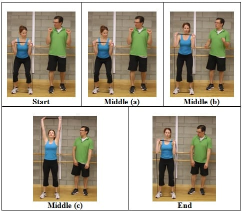 Squat into a Press front view 5 AWESOME Resistive Band Exercises You Can Do ANYWHERE