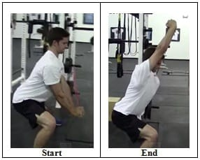 Lateral Lunge with Band Overhead Reach (side view)